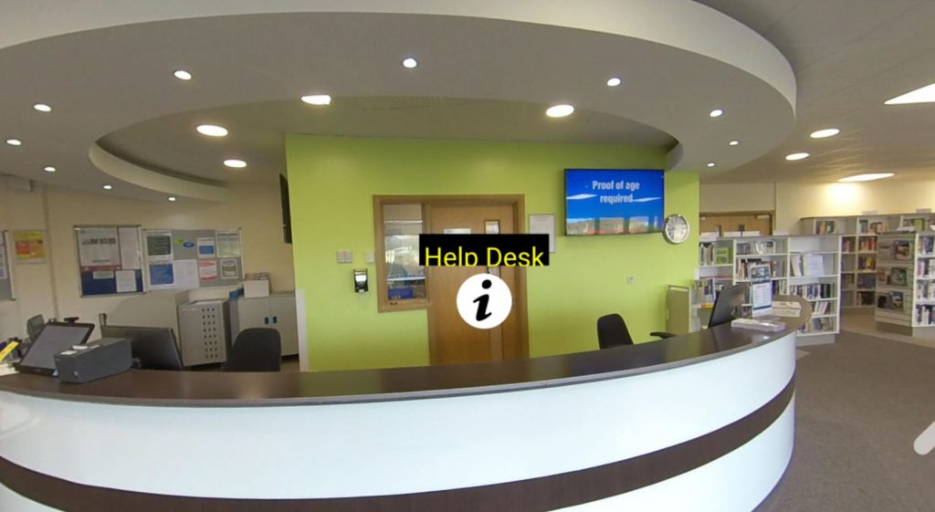 Picture of the Help desk in the eLearning Centre at the Bridlington Campus with a link to a virtual tour