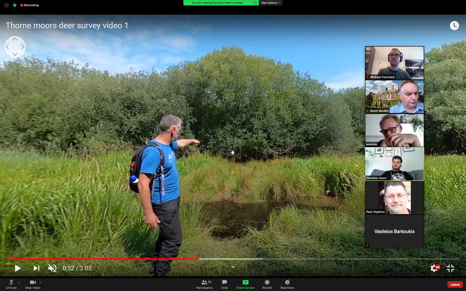 Dominic Henri (UK) presenting a 360°-video on Thorne Moors Deer Survey.